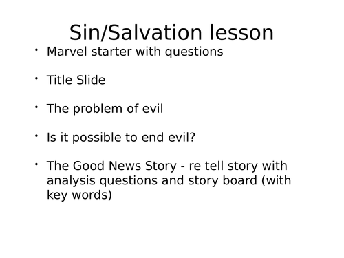 Sin, Salvation and Grace lesson for GCSE Christianity