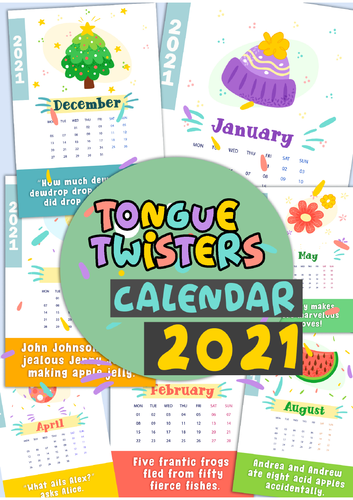 Tongue twisters calendar