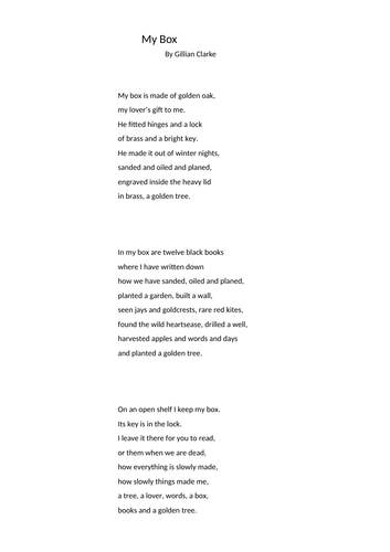 WJEC Welsh Poetry My Box Gillian Clarke