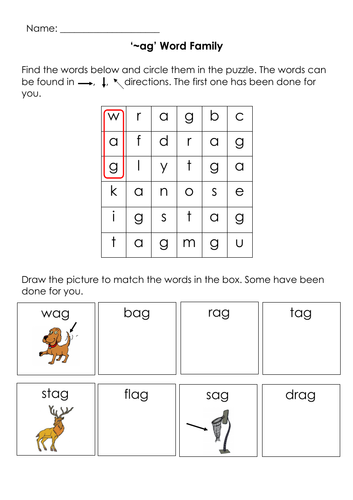 Phonics -ag Word Family Word Search, Draw and Match Printable