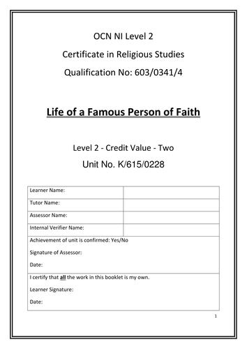 OCN Religious Studies Certificate - Life of a Famous Person of Faith