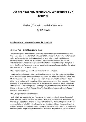 KS2 Reading Comprehension Worksheet Activity