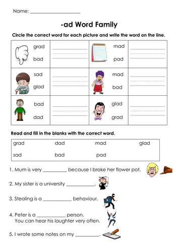 Phonics -ad Words Family Printable