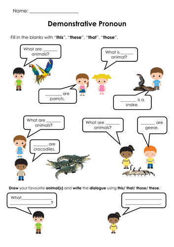 Grammar Demonstrative Pronouns (This/These/That/Those) Printable