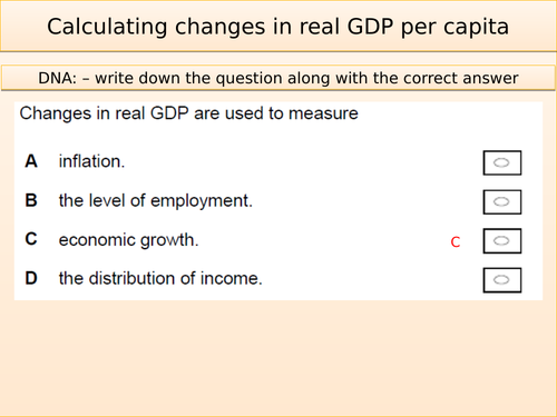 Calculating changes in real GDP per capita from changes in nominal GDP, price level and population
