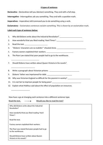 Four types of sentence worksheet