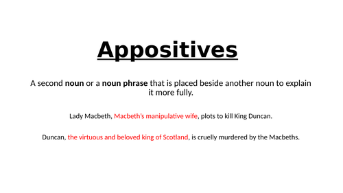 Appositives (linked to Macbeth)