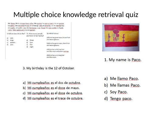 Spanish grammar and vocabulary multiple choice quiz.
