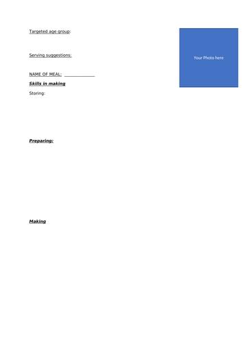 Food Tech Meal planning sheet