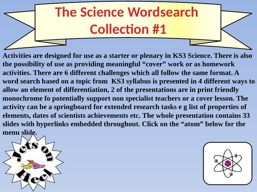 The Science Wordsearch Collection 1