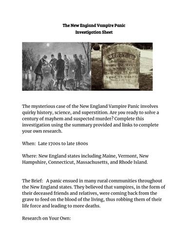New England Vampire Panic Investigation Sheet and Summarizing Sheet