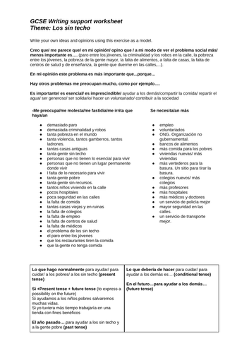 GCSE writing and oral support worksheets Los sin techo