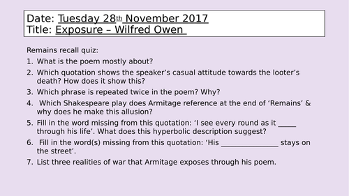 Exposure - Wilfred Owen