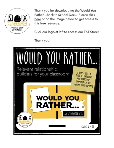 Would You Rather…Back to School Deck: Warm Ups / Bell Ringer - PDF w/ Link