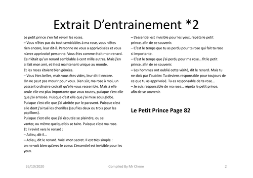 Oral IB French HIGHER - Le Petit Prince - A. De Saint Exupery - 2020 Specification- Text Extracts