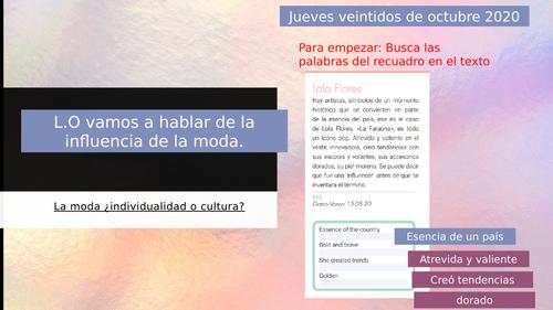 A level  Spanish La influencia de la moda - La influencia de los idolos