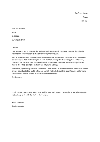 Holes - formal letter  to the Judge to overturn the verdict.