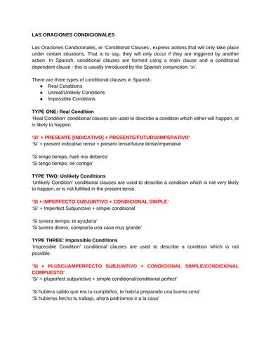 Las Oraciones Condicionales / Conditional Clauses