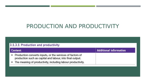 AQA Economics AS-Level (3.1.3) Production costs and revenue PPT