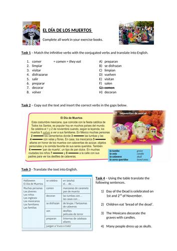 El día de los muertos / Day of the dead worksheet (based on Viva GCSE)