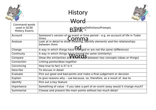 History Command Words