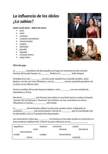 AQA A-Level Spanish starter (gap fill) La influencia de los ídolos
