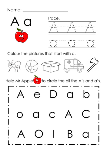 (Alphabets) Finding Letter A and Pictures Printable