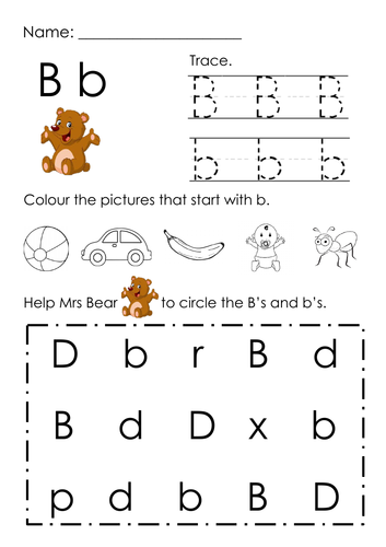 (Alphabets) Finding Letter B and Pictures Printable