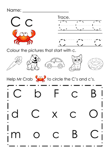 (Alphabets) Finding Letter C and Pictures Printable