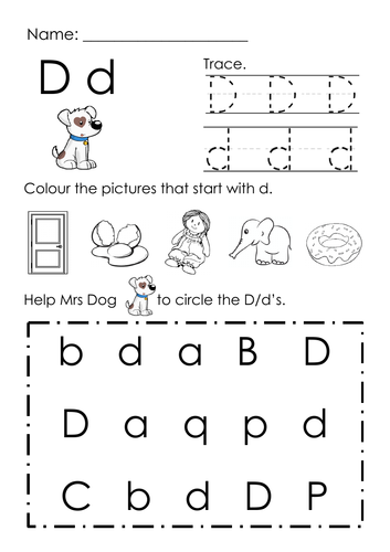 (Alphabets) Finding Letter D and Pictures Printable