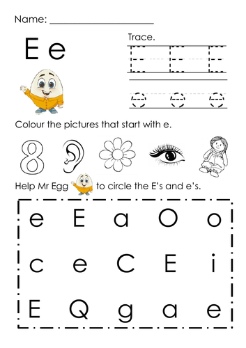 (Alphabets) Finding Letter E and Pictures Printable