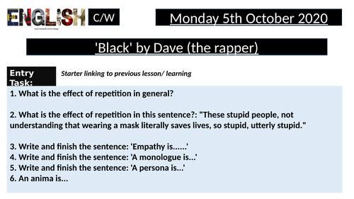 Black by Dave - Protest poetry, Black Lives Matter