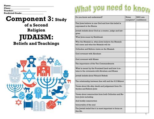 GCSE RE EDUQAS JUDAISM BELIEFS AND TEACHING COVID PROOF WORKBOOKLET