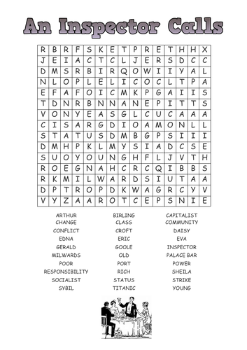 An Inspector Calls word search