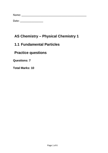 AQA Physical Chemistry 1 Atom Structure Exam Questions