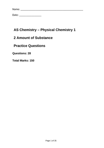 AQA As Amount of Substance Exam Question