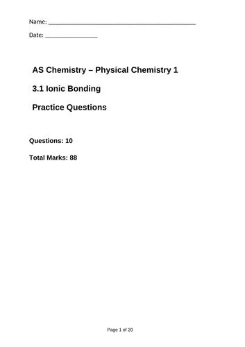AQA As Bonding 7 Topics Exam Questions