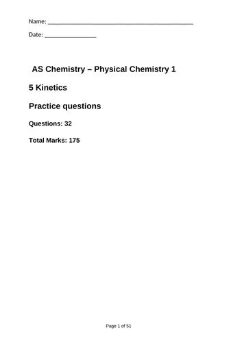 AQA As Topic 5 Kinetics Exam Questions