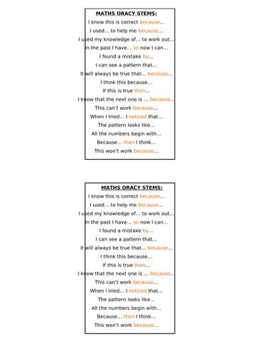 Maths oracy sentence stems