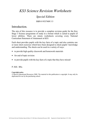KS3 Science worksheet