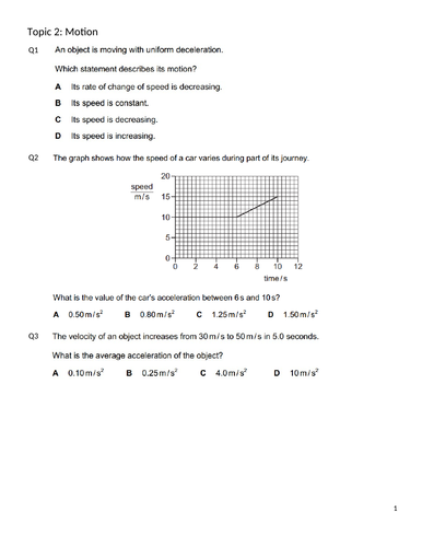 MOTION (IGCSE 0625 CLASSIFIED WORKSHEET WITH ANSWERS)