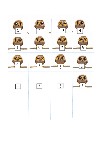 Ordering numbers to 20-Owl Babies themed