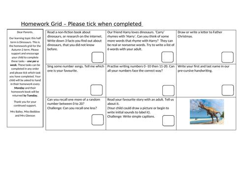 Dinosaur homework grid - Reception