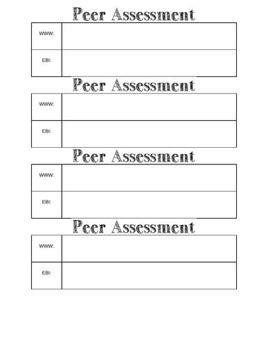 Self / Peer assessment mini sheet