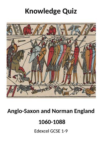 Anglo-Saxon & Norman England Quiz Booklet (Edexcel GCSE 9-1)