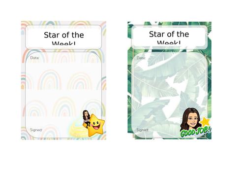 Star of the Week - Editable