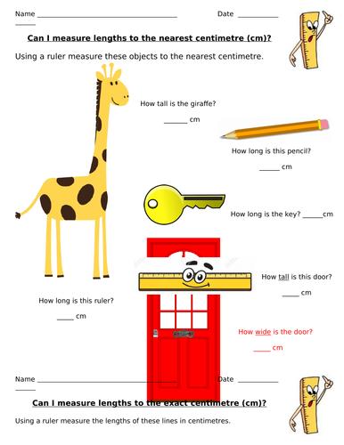 Measuring in cm worksheet - editable
