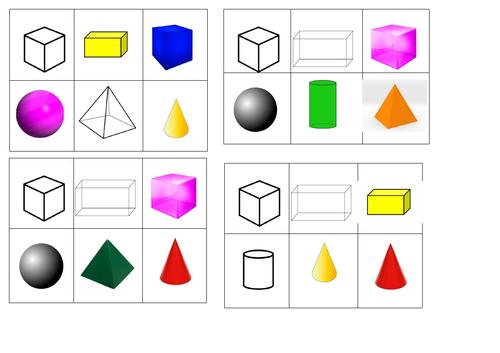 3D Shapes - Bingo