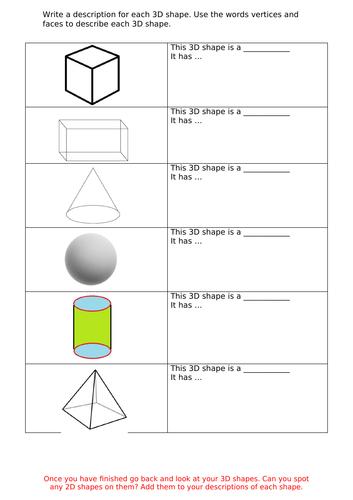 3D Shape Properties - worksheet