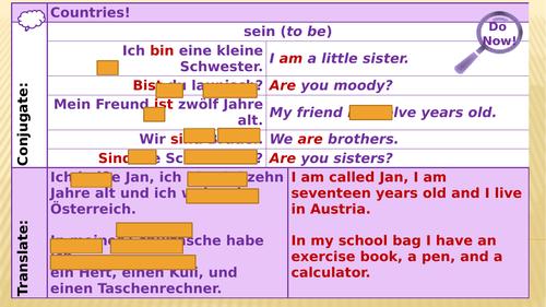 Y7 German Lesson 25 - Translation Assessment and PRIDE